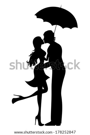 Romantic couple silhouette. Lovers woman and man kissing under umbrella - stock vector