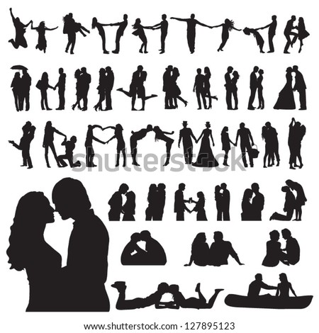 Romantic couples silhouettes - stock vector