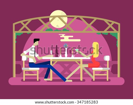 Romantic date design. Love couple, man and woman, relationship and moon, flat vector illustration - stock vector
