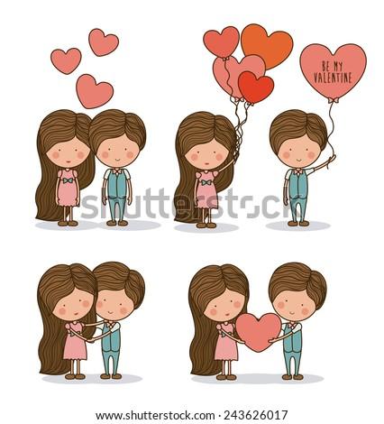 Romantic design over white background, vector illustration - stock vector