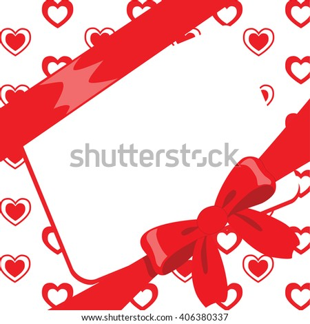 Romantic design with red hearts, ribbon, beautiful bow and white text box. Vintage background for greeting card. - stock vector