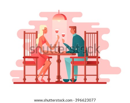 Romantic dinner a couple of lovers - stock vector