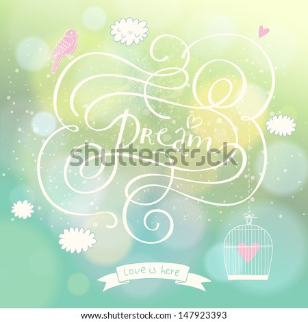 Romantic dream postcard with clouds, bird and cage in the sky. Vector lovely background with bokeh effect. Wedding invitation design. - stock vector