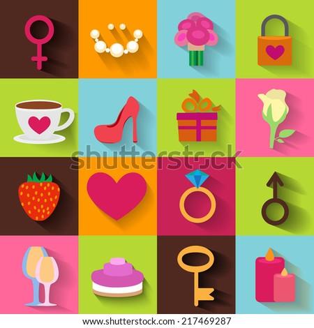 Romantic flat icon set - stock vector