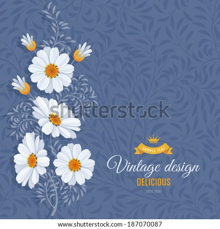 Romantic floral background with vintage flowers of daisies - stock vector