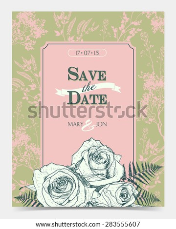 Romantic floral card with vintage roses. Wedding card - stock vector