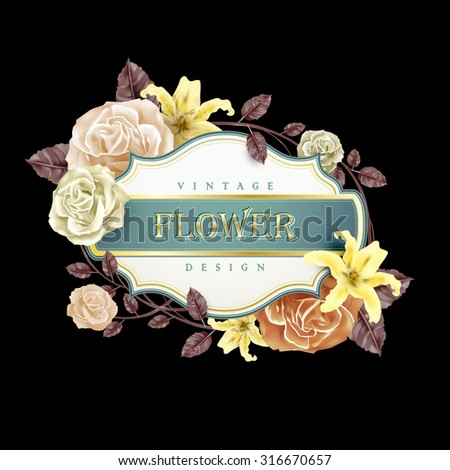romantic floral frame design with roses and lilies - stock vector
