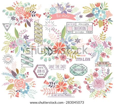 Romantic Floral hand drawn set. Vector illustration. - stock vector