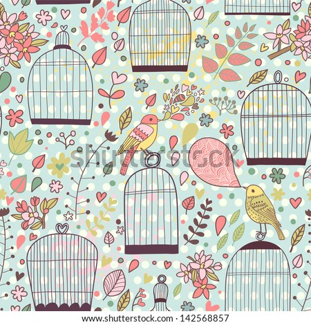 Romantic floral seamless pattern with empty cages and birds. Vector spring background. Wedding stylish decoration. - stock vector