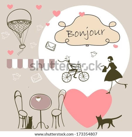 romantic french background - stock vector