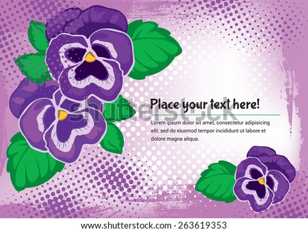 Romantic gift card with pansies - stock vector