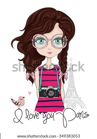 romantic girl/cute girl/T-shirt Graphics/illustration princess girl/design for children's books/girl vector/adolescent girl/romantic girl/funny girl/fashionable girl/french girl/eiffel vector - stock vector
