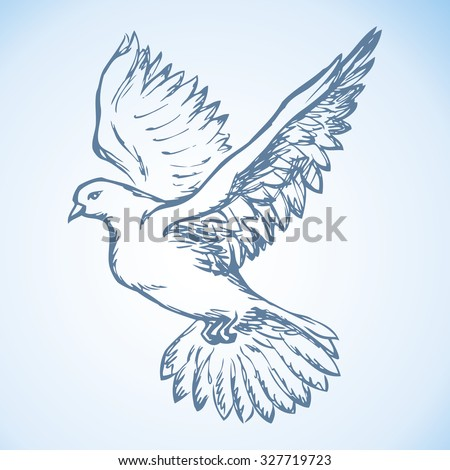 Romantic grace volant dove isolated on white background. Pax allegory concept or bridal card. Freehand ink drawn icon sketchy in art doodle style pen on paper. View closeup with space for text on sky - stock vector