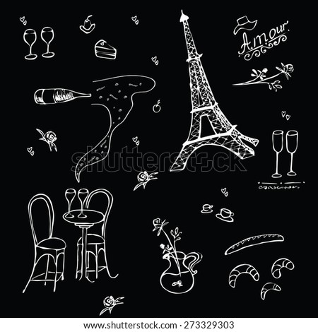 Romantic graphic background in Paris style.  Vector sketch illustration with Eiffel Tower and wine, vase with rose, glass for wine, croissants in cafe. Romantic love  atmosphere. Doodle hand drawing. - stock vector