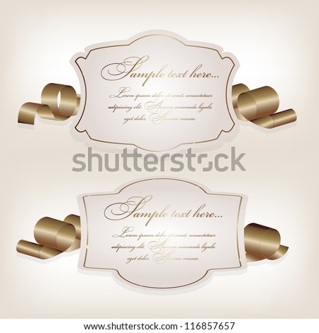 Romantic label with ribbon vetor illustration. - stock vector