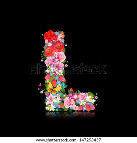Romantic letter of beautiful flowers L - stock vector