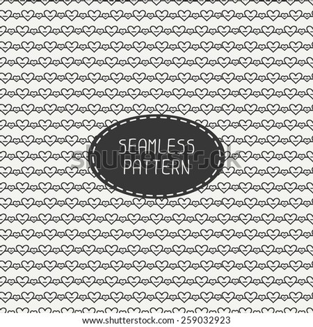 Romantic line seamless pattern with hearts. Paper for scrapbook. Tiling. Beautiful vector illustration. Background. Hand drawn doodles. Stylish graphic texture  for your design, wallpaper. - stock vector
