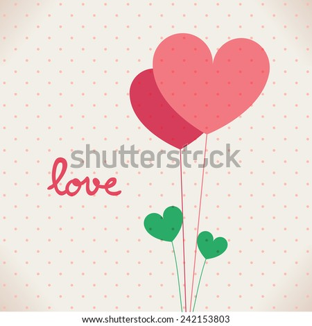 Romantic Love Heart on dot pattern background for Valentines day and Anniversary. Vector illustration EPS10. - stock vector