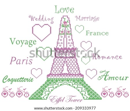 Romantic love pattern of eiffel Tower, roses, hearts and bike in mint pink colors.Background for Valentine's Day-stock vector.Can be used as wallpaper, embroidery, fabric, packing, cards, pixel art.   - stock vector