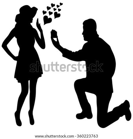 romantic man proposing to a woman - stock vector