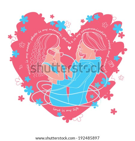 Romantic mood couple of lovers communicating by phone vector Illustration - stock vector