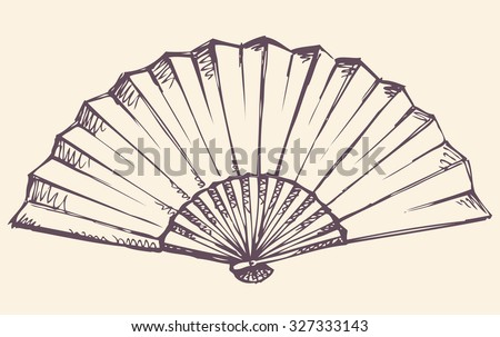 Romantic old stylish simple icon of elegant paper fan isolated on white backdrop. Freehand linear ink drawn symbol sketchy in art antiquity scribble engraving style. Close-up view with space for text - stock vector