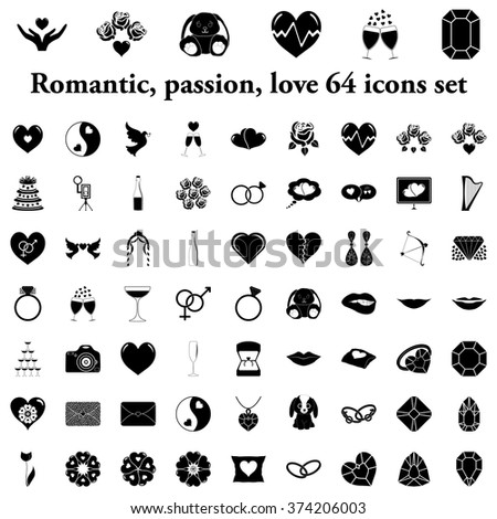 Romantic, passion, love and harmony simple icons set - stock vector