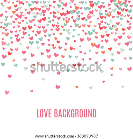 Romantic pink and blue heart background. Vector illustration for holiday design. Many flying hearts on white background. For wedding card, valentine's day greetings, lovely frame. - stock vector