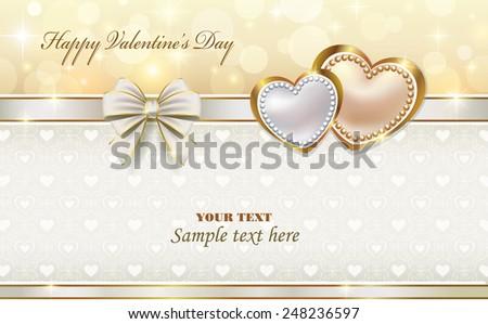 romantic postcard for Valentine's Day - stock vector