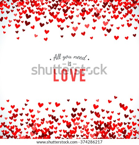 Romantic red background. Vector illustration for holiday design. Many flying hearts on white background. For wedding card, valentine day greetings, lovely frame. - stock vector