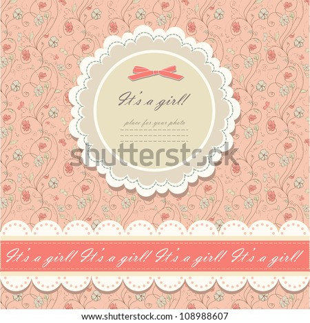Romantic scrapbooking with your text for invitation, greeting, birthday, label, postcard, frame, baby seamless, child posrcard, children pattern, clip art, holiday, gift and etc, vector eps 8 - stock vector