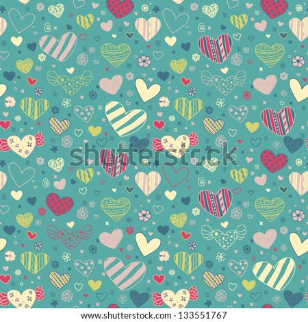 Romantic seamless doodle floral texture with hearts. Endless decorative colorful pattern. Template for design fabric, backgrounds, covers, wrapping paper - stock vector