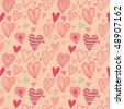 Romantic seamless pattern in pink and green - stock vector