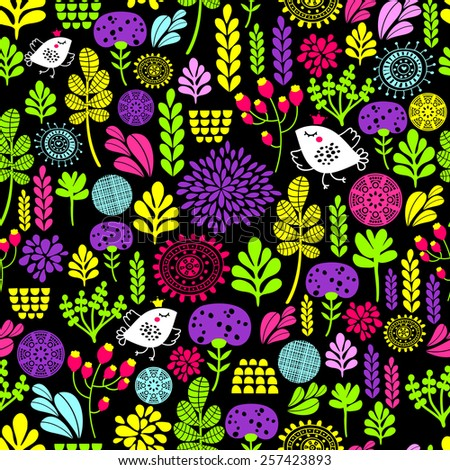 Romantic seamless pattern with cute flowers and birds in crown. Colorful vector background. - stock vector