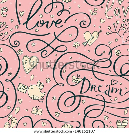 Romantic seamless pattern with hearts and birds. Cute wedding lettering in pink colors. Love and dream words. Vector valentine background. - stock vector