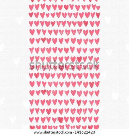 Romantic seamless pattern with small hand drawn hearts. Cartoon background in pink color. Vector illustration for your textile, paper, stationery or skin design. - stock vector
