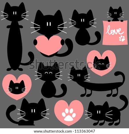 Romantic set of cute cats - stock vector