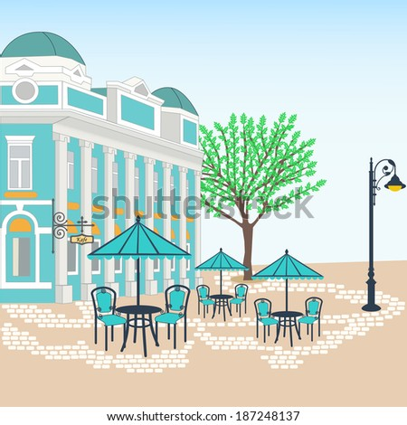 Romantic street cafe in the old city. Eps8 - stock vector