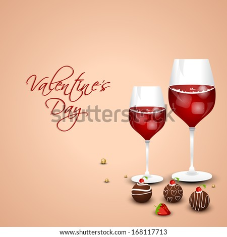 Romantic valentines day background with red wine and chocolate pan cake on vintage background.  - stock vector