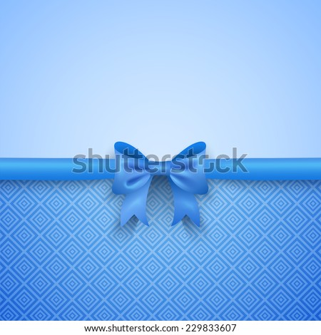 Romantic vector blue background with cute bow and pattern. Pretty design. Greeting card wallpaper for valentine day, birthday or woman day. - stock vector