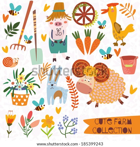 Romantic village set with a lot of elements:  plants,pig, duck, rake, sheep, rabbit, bees and other. - stock vector
