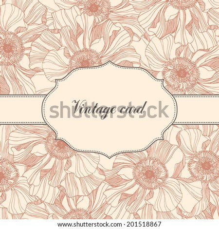 romantic vintage card with roses. - stock vector