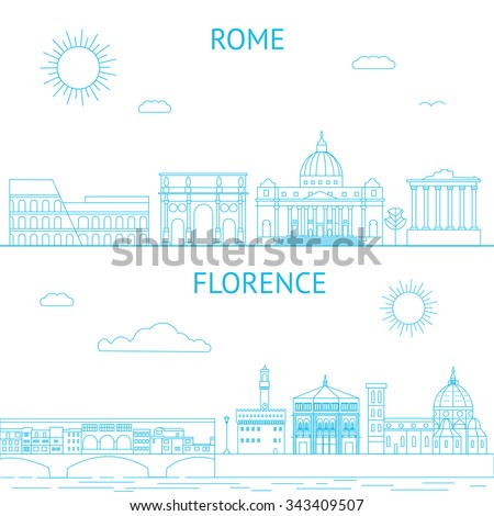 Rome and Florence vector line illustrations. Rome and Florence skyline. - stock vector