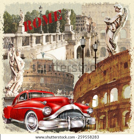 Rome vintage poster. - stock vector