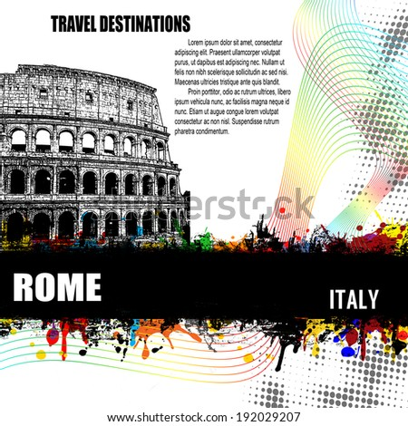 Rome, vintage travel destination grunge poster with colored splash and space for your text, vector illustration - stock vector