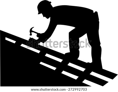Roofer Silhouette - stock vector