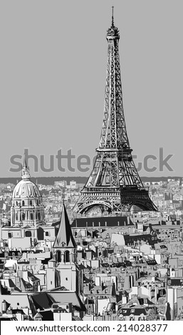 Roofs of Paris with Eiffel tower - Vector illustration - stock vector