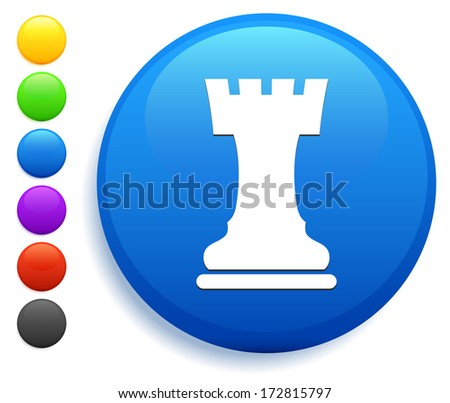 Rook Icon on Round Button Collection - stock vector