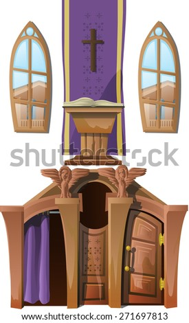 room for confession in Church - stock vector