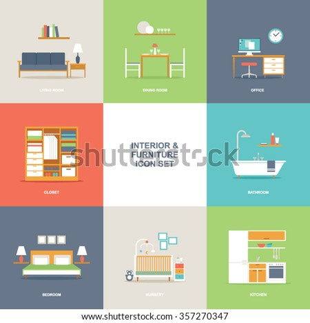 Room Interior and Furniture Icon Set - stock vector